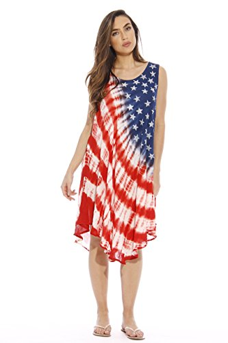 21512XX Riviera Sun American Flag Dress / USA Plus Size Summer Dresses
