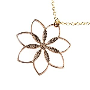 Flower Power! Peace Bronze Pendant Necklace on 18