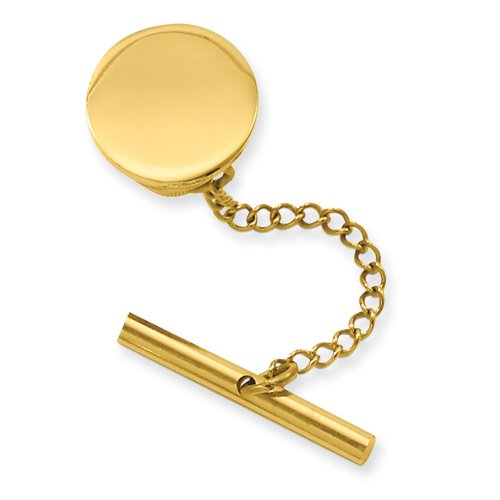 Gold-plated Round Polished Tie Tack FREE ENGRAVING Perfect Christmas Gift Idea