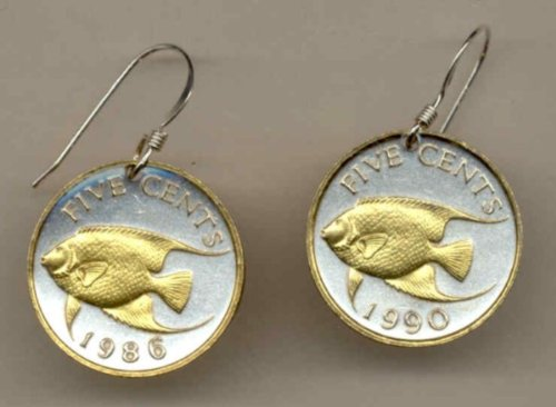 Bermuda 5 cent Angel fish Earrings-137RESS