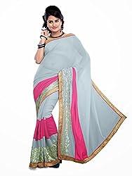 Offo Deals Womens Chiffon Saree ( TM-46_Grey_Freesize)