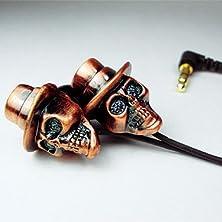 buy Atomic9 Necro Ii Coppertop - 3D Metal Skull Earphones With Microphone