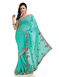 Designersareez Women Faux Georgette Embroidered Medium Turquoise Saree With Unstitched Blouse(1162)