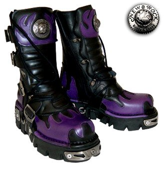 New Rock Style 591 Boots (Black/Purple) - (4 UK)