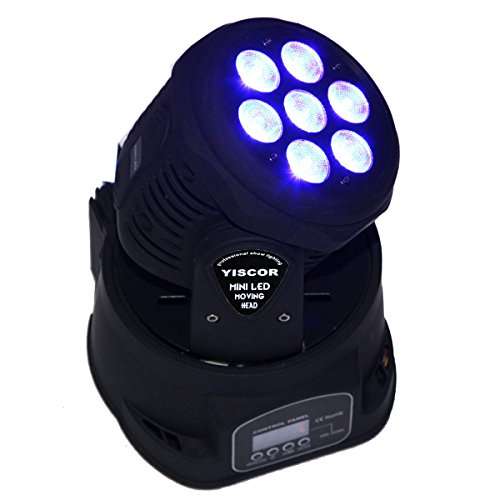 Yiscortm Stage Lighting Led Moving Head Spot Light 70W Rgbw (4-In-1) 7Led Dmx512 12Ch For Xmas Christmas Birthday Home Garden Party Effect
