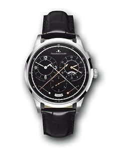 Jaeger LeCoultre Duometre Black Dial Black Leather Mens Watch Q6013470