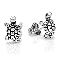 925 Oxidized Sterling Silver Little Turtle Post Stud Earrings 10 mm Jewelry for Women, Teens, Girls - Nickel Free from Chuvora