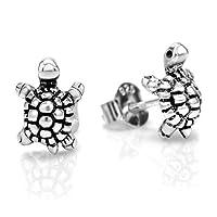 925 Oxidized Sterling Silver Little Turtle Post Stud Earrings 10 mm Jewelry for Women, Teens, Girls - Nickel Free from Chuvora