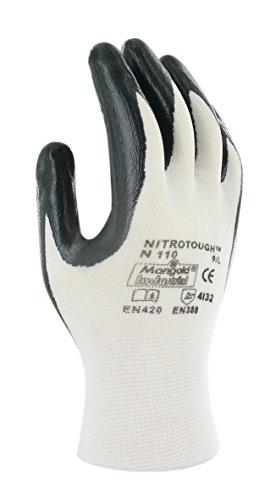 Ansell Nitrotough N110 oléofuges-Guanti, protezione meccanico, colore: nero (Confezione da 12 paia), 7, nero, 12