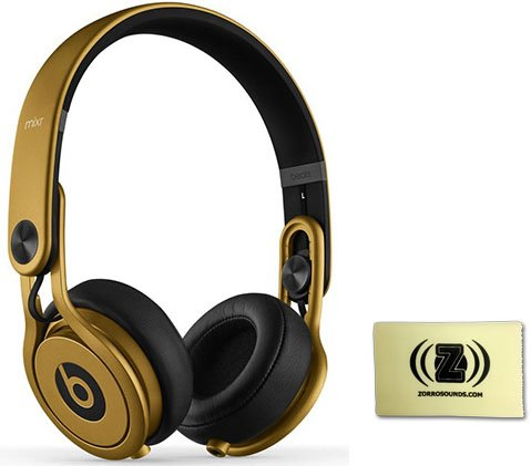 Beats By Dr. Dre Gold Mixr On-Ear Headphones Bundle With Zorro Sounds Cleaning Cloth