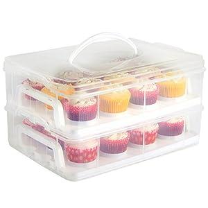 VonShef Stapelbare Cupcake / Muffin Aufbewahrungs- & Transportbox - Aufbewahrung von bis zu 24 Cupcakes oder 2 grossen Kuchen