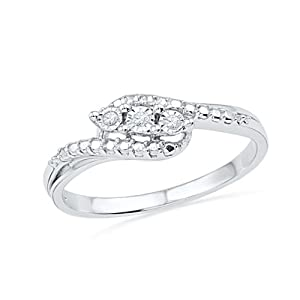 Sterling Silver Round Diamond Three Stone Bypass Fashion Ring (0.03 Cttw) by 7 Continents