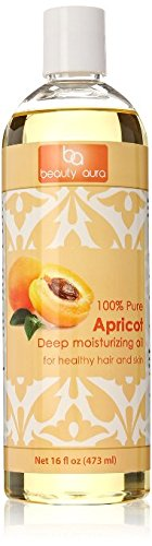 Beauty Aura 100% Pure Apricot Kernel Oil Cold Pressed From Best Quality Dried Apricot Kernels. 16 Ounce