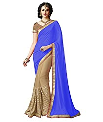 Exclusive Blue And Beige Colored Lycra And Chiffon Material Sequence Work Saree With Fancy Blouse