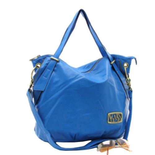 Features Valentino Cobalt Blue Shoulder Hobo Tote Handbag :