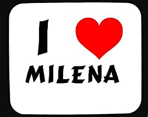 Amazon.com : I Love Milena custom mouse pad (first name/surname