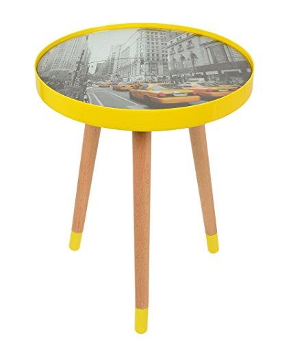 Design-NEW-YORK-TAXI-Beistelltisch-Glastisch-40-cm-Rund-Holz-Gelb-Lack-Glas-Kaffeetisch-Couch-Tisch-Nachttisch