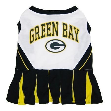 Pets First Green Bay Packers NFL Team Pet Dog Cheerleader Sports Outfit - Small by Pets First