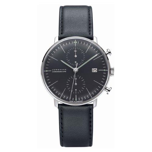 Junghans Max Bill Chronoscope 027/4601.00 - Reloj cronógrafo automático para hombre, correa de cuero color negro (cronómetro)