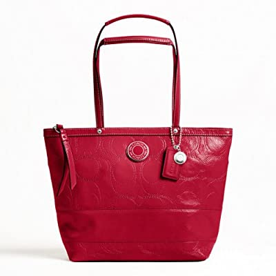 Coach Signature Stripe Stitched Patent Leather Bag F19198 (Red)