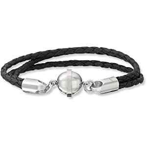 Stainless Steel Leather and Stainless Steel Bracelet with Magnetic Clasp