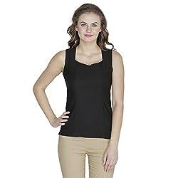 RAMPWALK Polyester Black M Regular Fit V Neck Tops for women