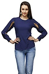blue sleeve cut-out top