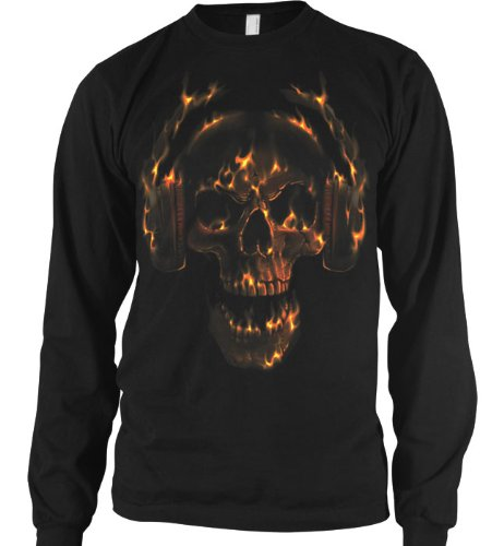 Hot Head Mens Thermal Shirt, Liquid Blue Flaming Skull And Headphones Design Mens Long Sleeve Thermal Shirt, X-Large, Black