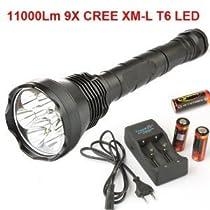 Intsun® 9X CREE XM-L T6 LED 11000Lm LED Flashlight Torch + 3X 26650 Battery + Charger