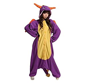 Purple Dragon Kigurumi Pajamas Costume Cosplay Without Shoes (Size:XL(179-185CM))