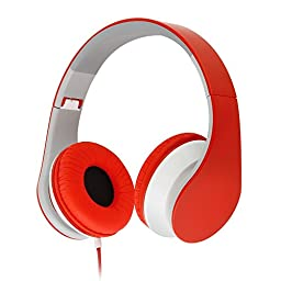 ECOOPRO 3.5mm Over Ear Stereo Headphones Headset Earphones with In-line Microphone and Control for Kids and Adults Compatible with iPhone, iPad, Android Smartphones, Tablets, Laptops, PC, MP3