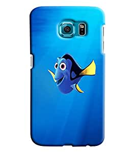 Blue Throat Fish Cartoon Printed Designer Back Cover/ Case For Samsung Galaxy S6 Edge Plus