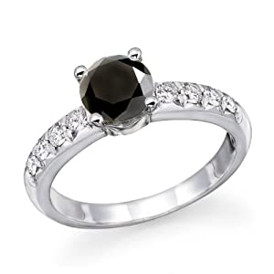 1 ctw. Black Diamond Round Solitaire Engagement Ring in 14k White Gold