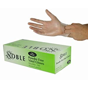 Box of 100 Noble Small Powder Free Disposable Vinyl Gloves for Foodservice