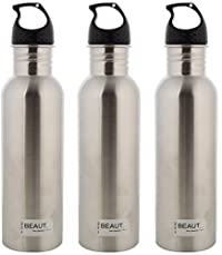 Beaut Stainless Steel Heavy Guage Plain Water Bottle, 750 ml, Pack of 3