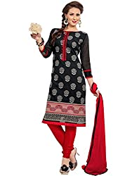 Fashion Queen Presents Black & Red Colored Unstitched Dress Material
