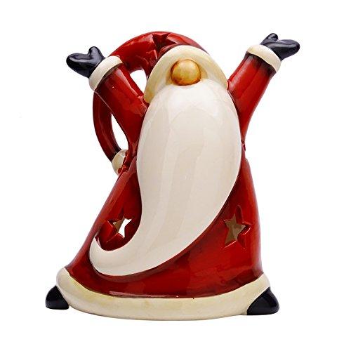 Sculpté décoratif rouge de Santa design Bougeoir brûleur en céramique à la main indienne