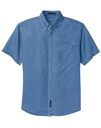 Port Authority Short Sleeve Denim Shirt-XS (Faded Denim)