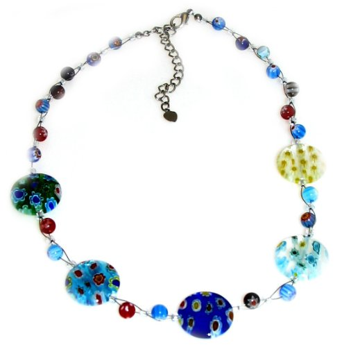 Stunning Multicolour Rainbow Millefiore Glass Bead Flower Necklace, Measures 40cm or 16