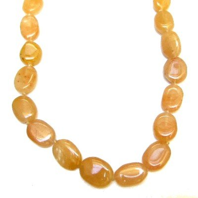 Calcite Necklace 07 Yellow Oval Crystal Healing Beaded Stone Natural 17