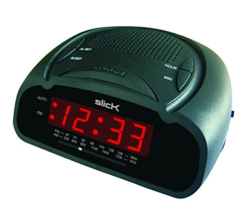slick cr212bk am fm digital alarm clock radio. Black Bedroom Furniture Sets. Home Design Ideas