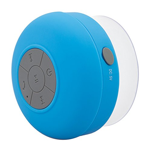 Soundplus Waterproof Portable Bluetooth Shower Speaker, 6 Hours Playtime, with Built in Mic. Blue