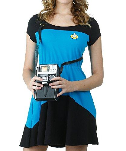 Mighty Fine womens Star Trek Blue Starfleet Skater Dress Medium