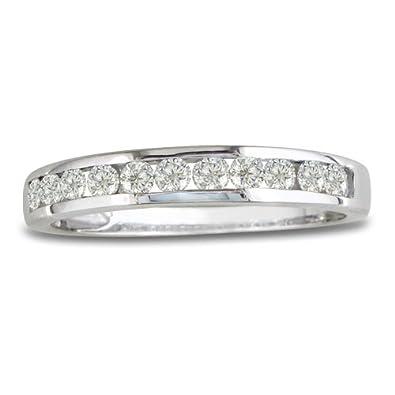 14K White Gold Round Diamond Anniversary Wedding Band Ring (1/4cttw. H/I I1- I2)