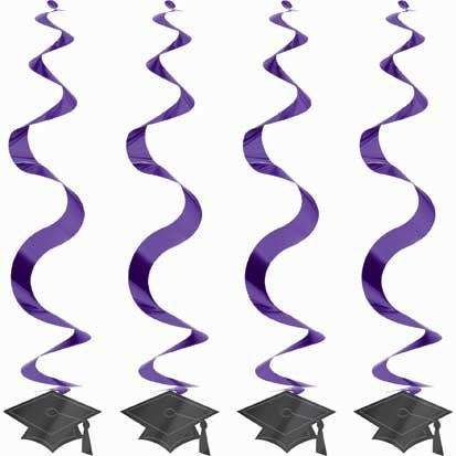 Graduation Purple Cap 24in Hanging Swirl Decoration 15ct