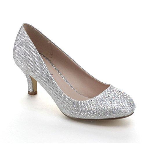 Bonnibel Wonda-1 Womens Round Toe Low Heel Glitter Slip On Dress Pumps,Silver,9