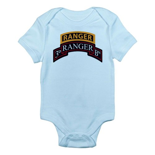 Cafepress 3D Ranger Bn Scroll With Rang Infant Bodysuit - 0-3M Sky Blue front-1008445