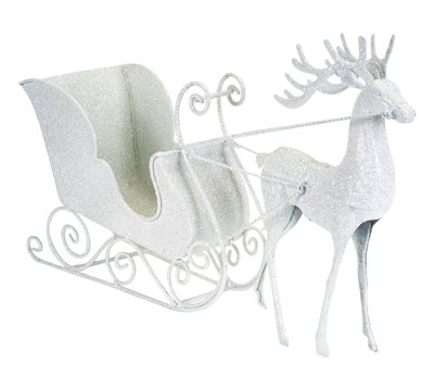 Glitter White Reindeer and Sleigh Christmas 7-inch Table Top Christmas Decoration - Set of 2 by Melrose