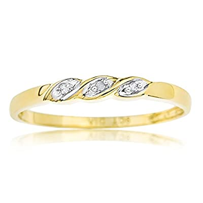 Ornami Glamour 9ct Yellow Gold Diamond Set Twist Ring - Size S