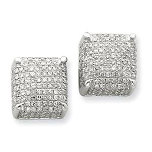 14k Gold White Gold Diamond Large Cube Post Earrings